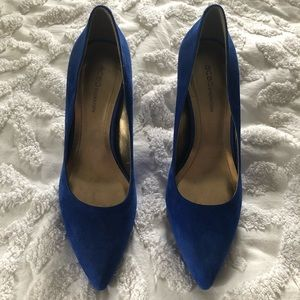 BCBG blue suede shoes